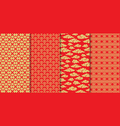 Chinese pattern set decorative background vector