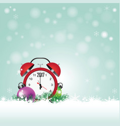 Christmas card with red clock with date 2017 vector