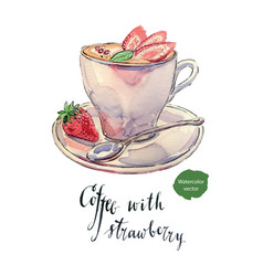 cup of coffee with milk mint and strawberries vector image