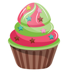 Cupcakes with star shaped sprinkles on white vector