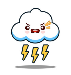 cute cloud lightning bolt kawaii face icon cartoon vector image