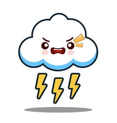 Cute cloud lightning bolt kawaii face icon cartoon vector