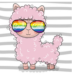 Cute lama with sun glasses vector