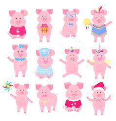 cute piggy in different costumes unicorn santa vector image