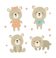 cute set funny babears for kids vector image