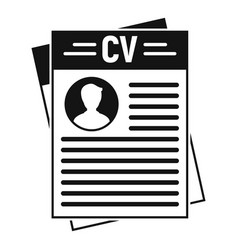cv document icon simple style vector image
