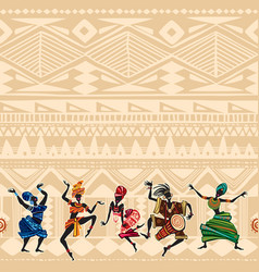 Dancing people on ethnic background with african vector