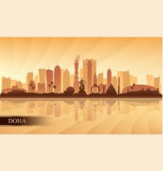 Doha city skyline silhouette background vector