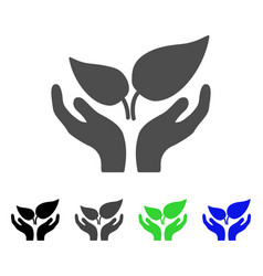 Eco startup care hands flat icon vector