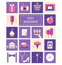 Event management party and celebation flat icons vector