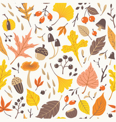 Fall colorful leaves and berries pattern vector