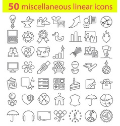 Fifty linear icons bundle vector image