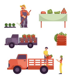 Flat farmer products delivery process set vector