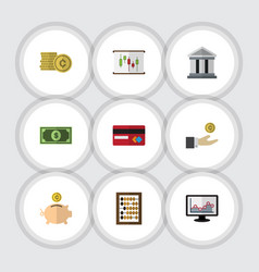 Flat icon gain set of cash money box payment and vector