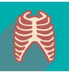 Flat icon with long shadow human rib vector
