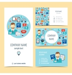 Flyer brochure and business cards for foreign vector