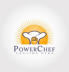 Food logo power chef icon concept vector