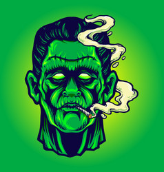 frankenstein smoking cannabis halloween vector image