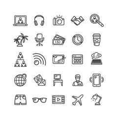 freelance signs black thin line icon set vector image