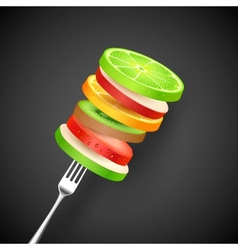 Fruit Slice in Fork vector image