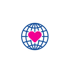 Globe love logo icon design vector