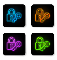 glowing neon lock and key icon isolated on white vector image