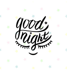 good night word written in calligraphy style vector image