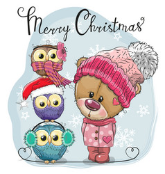 Greeting christmas card cute teddy bear and three vector