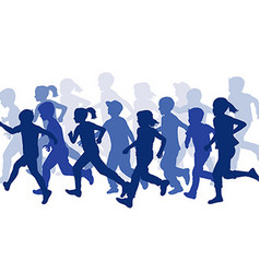 Group of children silhouettes running vector
