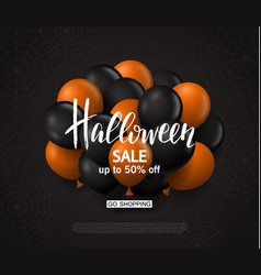 halloween sale background with balloons modern vector image