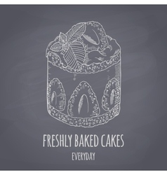 Hand drawn cake with mint isolated Chalk style vector