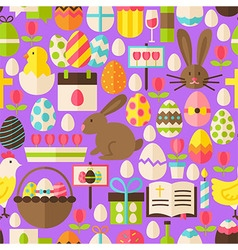Happy Easter Flat Design Purple Seamless Pattern vector