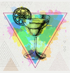 Hipster cocktail margarita vector
