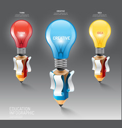 Infographic pencil with light bulb idea education vector