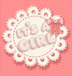 Its a girl pink baby shower with pink bow vector