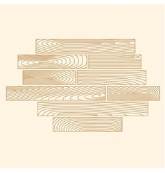 Linear wooden planks composition vector