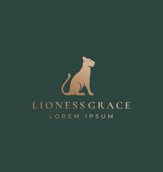 Lioness grace abstract sign emblem or logo vector