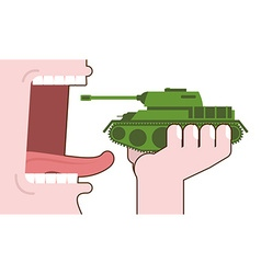 Man eating tank Destruction of military transport vector image