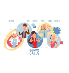 mobile network operator website unlimited calls vector image