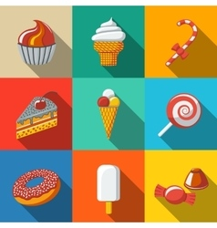 Modern flat sweet icons set with - cupcake donut vector
