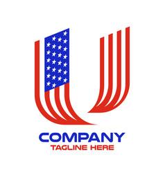Modern letter u and american flag logo vector