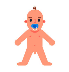 Naked young child learns to stand and walk vector