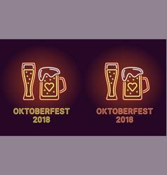 neon banner of oktoberfest holiday in orange vector image