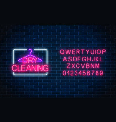 neon dry cleaning glowing sign with hanger and vector image