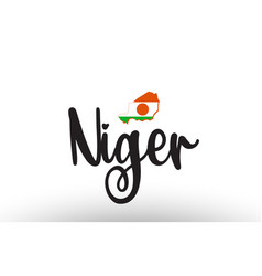 Niger country big text with flag inside map vector