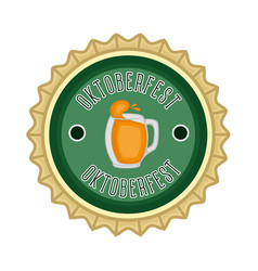 oktoberfest label with a beer mug icon vector image