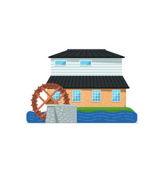 Old water mill building isolated icon vector