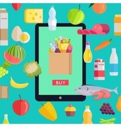 Online Food Market Concept Banner vector
