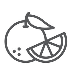 Orange fruit line icon fruit and vitamin juicy vector