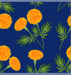 Orange marigold on indigo blue background vector